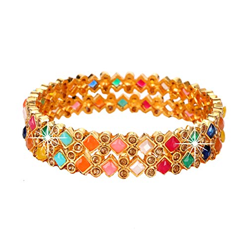 Yellow Chimes Traditional Evergreen Navratana Style by Yellow Chimes Gold Plated Bangle Set for Women (Multicolor) (YCTJBG-06NVRT-MC-S2-26)