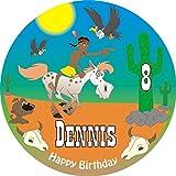Runder Tortenaufleger für Mottoparty Indianer, Cowboys, wilder Westen oder Country, Happy Birthday, mit Vorname +Alter vom Geburtstagskind