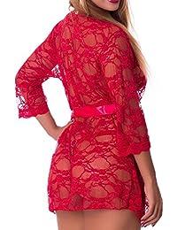 Kimono sexy + string - Florença - Taille unique, Rouge