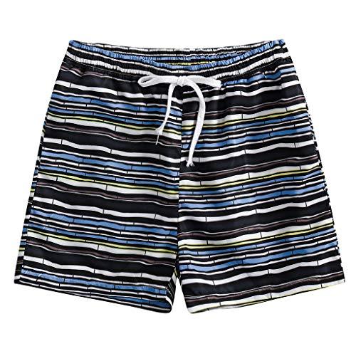 SSUPLYMY Lässig Bedruckte Strandshorts für Herren Shorts Retro Gestreifte Kurz Hose Beach Sommerhosen mit Elastischem Taillenband High Waist Sporthosen Short Pants - Hat Check Girl Kostüm