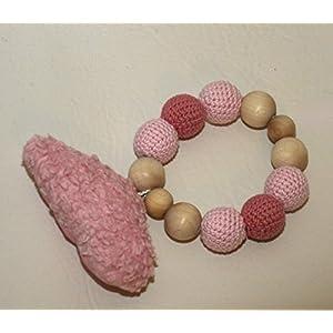 Greifling rosa / altrosa personalisierbar mit Wolke, Sterne handgemacht Bio Baumwolle Holz unbehandelt Quietscher, Rassel, personalisierbar made in Germany hergestellt in Deutschland
