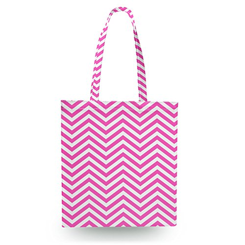 Queen of Cases Chevron Stripes Hot Pink - Open Canvas Tote Bag - Canvas Tote Bag Shopper Tragetasche
