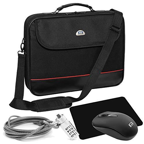 """PEDEA Notebook-Tasche \""""Trendline\"""" Starter Kit für Notebooks mit Displaygrößen bis 15,6 Zoll (39,6cm) inkl. schnurlos Maus, Mauspad und Notebookschloss, schwarz"""