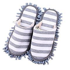 Idea Regalo - Pormow, 1 paio di pantofole multifunzionali per la pulizia della casa e del pavimento con suola in microfibra., Ciniglia, grigio, taglia unica