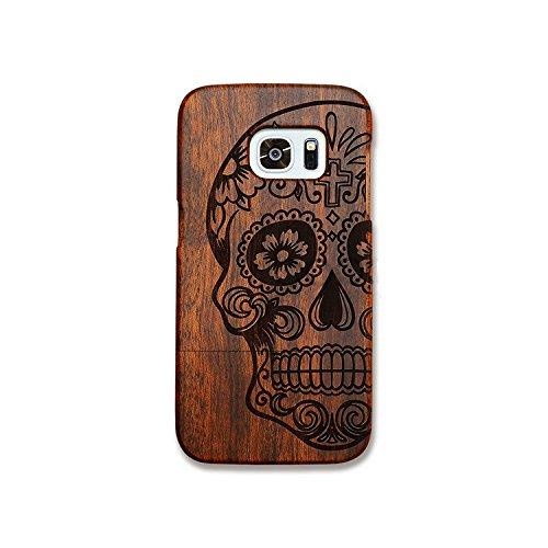 Dual Kirschholz (Forepin® Natur Holz Hülle Handyhülle Echtem Schutz Schale Hart Cover Case Etui für Samsung Galaxy S7 Edge, Wood Handy Schalen - Schädel)