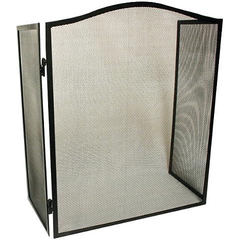 Kingfisher FS4protector plegable para chimenea, de 3 paneles, de rejilla de malla de acero–negro