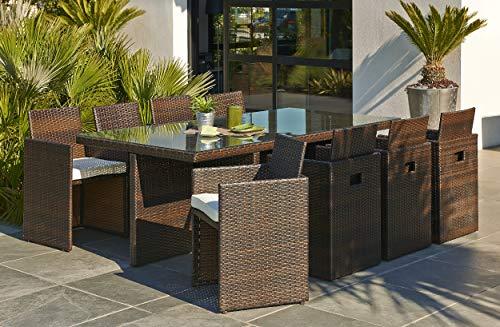 DCB GARDEN PVC-8-CH+ Encastrable 8p en résine tressée Plateau Verre - 1 Table + 8 fauteuils Chocolat, 210x105x74 cm