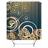 HUIYIYANG Home Bathroom Decorative Shower Bath Curtains,Creative Design Gradient Color Ribs Clouds Circle,100% Polyester Fabric Shower Curtain 36