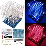Yongse DIY Square 8x8x8x8 3D Light Electronic Cube Kit Blue Red LED Spectrum Board