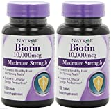 Natrol Biotin 10,000 Mcg, Maximum Strength, 100 Tablets (2 Packs) Shipped from USA by Natrol