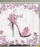 BBFhome Duschvorhang 180 x 180 CM Punk und Lila Frauen Schuhe mit Rosen und Herzen und Schmetterlinge fliegen Polyester Gewebe Badezimmer Set mit Haken