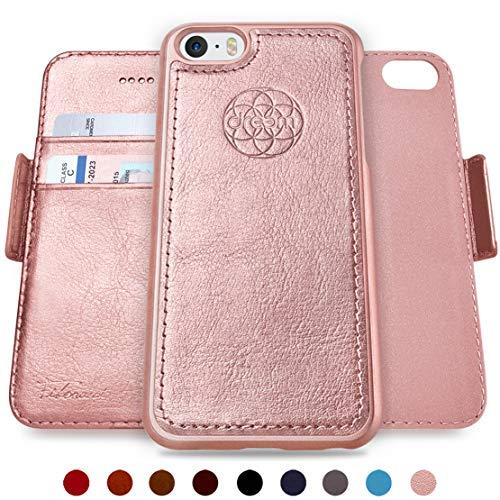 Dreem Fibonacci Brieftasche & Schutz-Hülle für iPhone 5/5s, magnetisch herausnehmbares TPU Case, dünn bruchfest, 2 Standfunktionen, hochwertige synthetische Leder-Tasche, RFID Schutz - Rosé-Gold