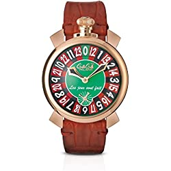GaGa Milano Men's Las Vegas Roulette 48mm Leather Band Rose Gold Plated Case Mechanical Watch 5011.LV.01S