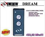Vida Dream Control Remoto de 3canales, 433,92MHz Código de Rolling. 2botones. La nueva versión de la vida Fido, duración de vida VIP, Star y de la vida Bravo Mandos a distancia.