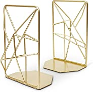 KH Premium Geometric Bookends with Matte Finish - Decorative Iron Book Stoppers - Industrial/Home/Office Creat