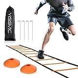 Yissvic Escalera de Entrenamiento de Fútbol para Agilidad Fitness Velocidad con 10 Conos de Disco y 4 Clavos de Sujeción