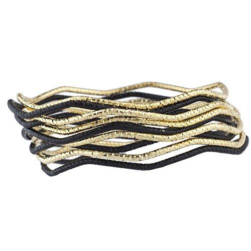 Lux Accessories - Juego 10 brazaletes Moda Mujer