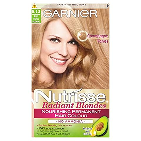 Garnier Nutrisse Creme Permanent Hair Colour 8.13 Ash Beige Blonde(Pack of 3)