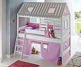 Hochbett Tom´s Hütte 2 Kinderbett Spielbett Bett Weiß Stoffset Lila/Rosa