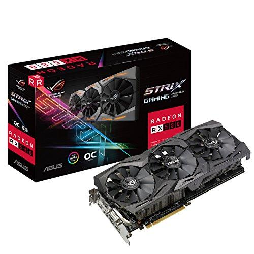 Asus ROG Strix-RX580-O8G-Gaming AMD Radeon Grafikkarte (8GB GDDR5 Speicher, PCIe 3.0, HDMI, DisplayPort)