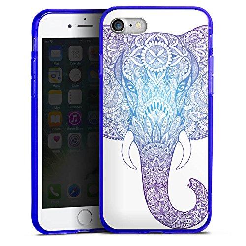 Apple iPhone 8 Silikon Hülle Case Schutzhülle Elefant Mandala Ornamente Silikon Colour Case blau
