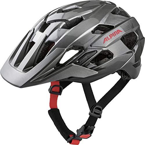 Alpina Unisex- Erwachsene ANZANA Fahrradhelm, darksilver-blk-red, 57-61 cm