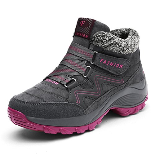 Damen Winter Freizeitschuhe Warm Gefütterte Boots Klettverschluss Winterstiefel Plateau Wander Sneakers Schuhe EU38=24CM Grau