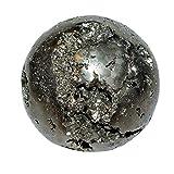 Pyrit Kugel Ø ca. 44 - 48 mm auch Katzengold genannt auch als Handschmeichler gute Steinqualität incl. 1 Hämatit Ring als Ständer.(4081)