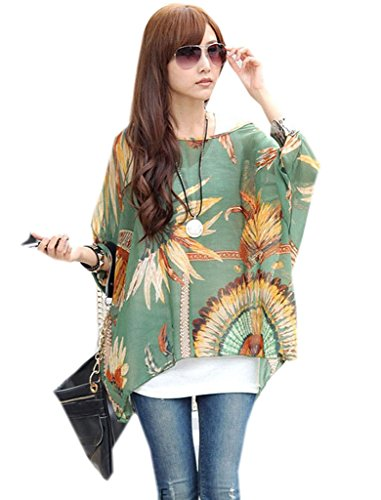 KK-Go Damen Boho Blumen 3/4 Armel Chiffon Bluse T-Shirt Fledermaus 42 Stil