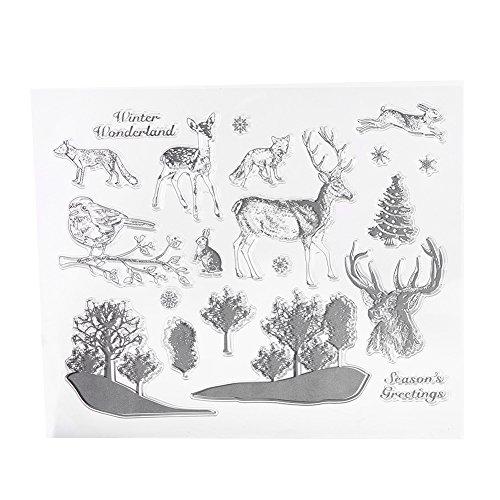 1set trasparente trasparente silicone diy foresta pianta e animali francobolli per album per ritagli cartoline decorazione