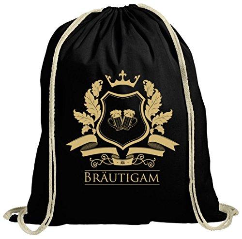 Junggesellenabschieds JGA Hochzeit natur Turnbeutel Wappen Bräutigam schwarz natur
