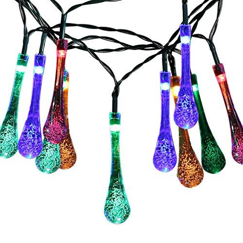 Catena Luce Solare Natalizia 30 LED 5m Water Drop Impermeabile d'acqua per Natale Compleanno Festa Sera Anniversario - Colorato