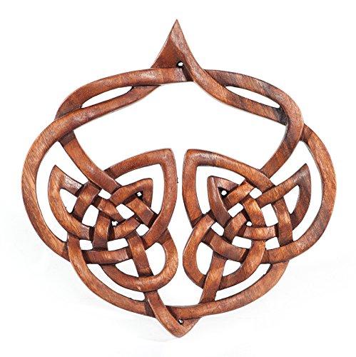 windalf-cuadro de madera de inala H: 23cm celta amor nodos Corazón Decoración Hecho A Mano De Madera