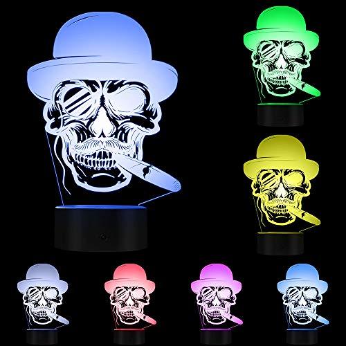 3D-Nachtlicht,Schädel Im Hut Mit Zigarre Und Monocle-Emblem 3D Beleuchtetes Zeichen Zigarre Rauchendes Schädel-Lampen-Halloween-Skeleton Rauch Led-Nachtlicht, Notensteuerung