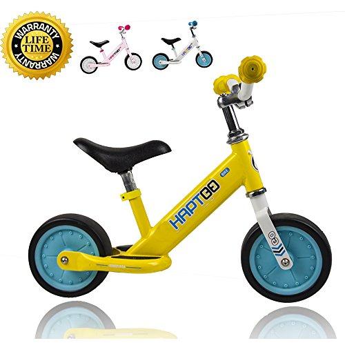 HAPTOO Leichtes Laufrad ab 1 Jahr, Höhenverstellbar Sattel und Lenker, Laufräder mit Rutschfester Fußstütze, Geburtstag Geschenk Spielzeug für Kinder, 7 Zoll Gelb