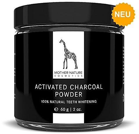 Aktivkohle Pulver von Mother Nature® - vegan - zur Zahnaufhellung & Zahnreinigung | 100% Natural Activated Charcoal Teeth Whitening Powder | für natürlich weiße