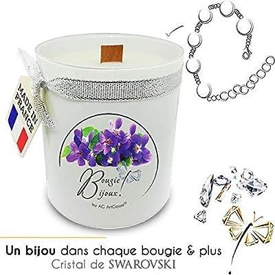 Bougie Bijoux Violette des bois avec Cristal de Swarovski. Parfum de Grasse et mèche en bois. Le bijou caché se dévoile après 30 minutes ! Coffret CADEAU Bracelet.