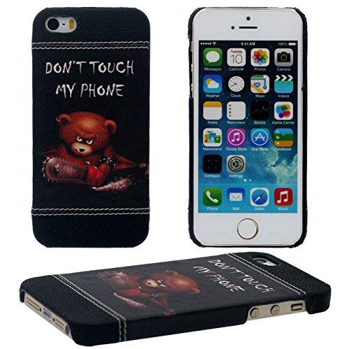 iPhone SE Coque Mince et Léger, Dur Plastique 3D Grain Peinture Motif Style ( Chat noir ) Beau Housse de Protection Case pour Apple iPhone 5 5S SE noir-2