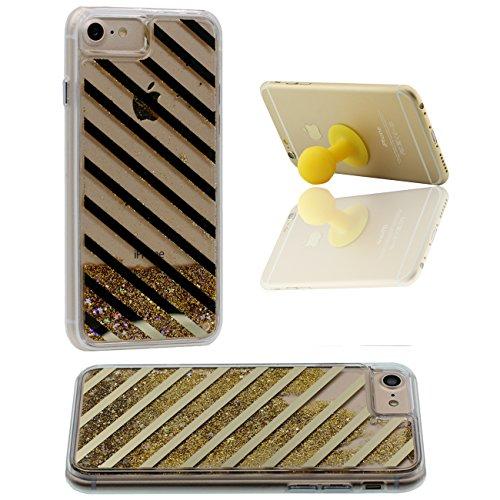 iPhone 7 Case, Coque Étui de Protection pour Apple iPhone 7 4.7 inch Poudre d'or Couler Dur Transparente Eau Liquide Créatif Géométrie Ligne X 1 Silicone Titulaire or-2