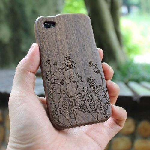 SunSmart Einzigartigen, handgefertigten Naturholzhartholzhülle für das iPhone 4 4S (bunte Streifen) walnut-butterfly