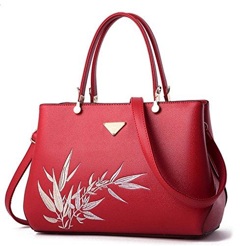 Xinmaoyuan Borse donna ricamo Lady Borsa tracolla a doppia sacca tuta Rosso