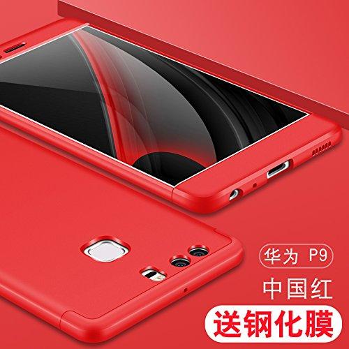 Cover Huawei Honor 7X,Custodia Huawei Honor 7X,XINYUNEW 360 Gradi+ Pellicola Protettiva in Vetro Temperato [2-Pack] della copertura completa 3 in 1 Hard PC Case Cover Stilosa Protettiva Bumper Antiurt Rosso
