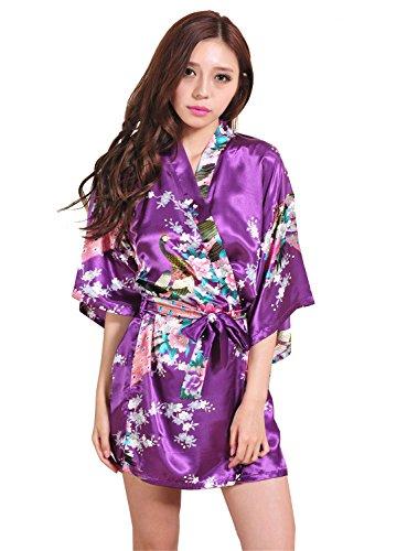 Yidarton Kimono Femme Fleurs Paon Modèle Soie Artificielle - Peignoir Femme Satin Cardigan Robe Chemise de Nuit Violet