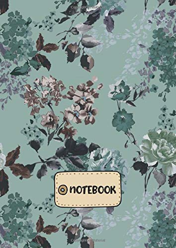 Floral Chintz (Notebook: A4 Size College Ruled Faded Chintz Teal Floral Pattern Cover - Blank Lined Interior)