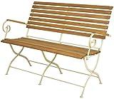 Esschert Design Klappbank aus Holz/Metall, 132 x 64 x 89 cm, in edler Optik, klappbar, in Farbe creme