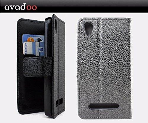 avadoo® Medion Life E4504 Flip Case Cover Tasche Schwarz mit Magnetverschluss und Dualnaht als Cover Tasche Hülle