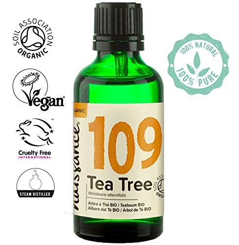 Naissance Organic Australian Tea Tree Essential Oil (#109) 50ml - Pure, Natural, Certified Organic, Cruelty Free, Vegan & Undiluted - Use in Aromatherapy & Diffusers
