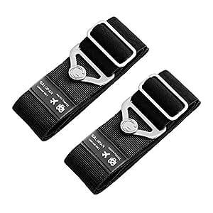 Koffer Gurte, Galopar Koffer Gürtel Verstellbare Elastische Koffer Riemen Reisezubehör Urlaub Essentials -2 Pack Black
