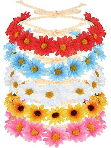 5 Stücke Mehrfarbig Blumen Stirnband Sonnenblume Krone Haar Kranz Braut Kopfschmuck Fest Haarband (Blume Krone Sonnenblume)
