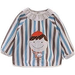 Happy Cherry Blusón Babero Babi Impermeable de Mangas Largas Protección de Ropa Infantil Delantal de Pintura Dibujo para Bebés Niños Niñas - Azul Rayas - Talla 80